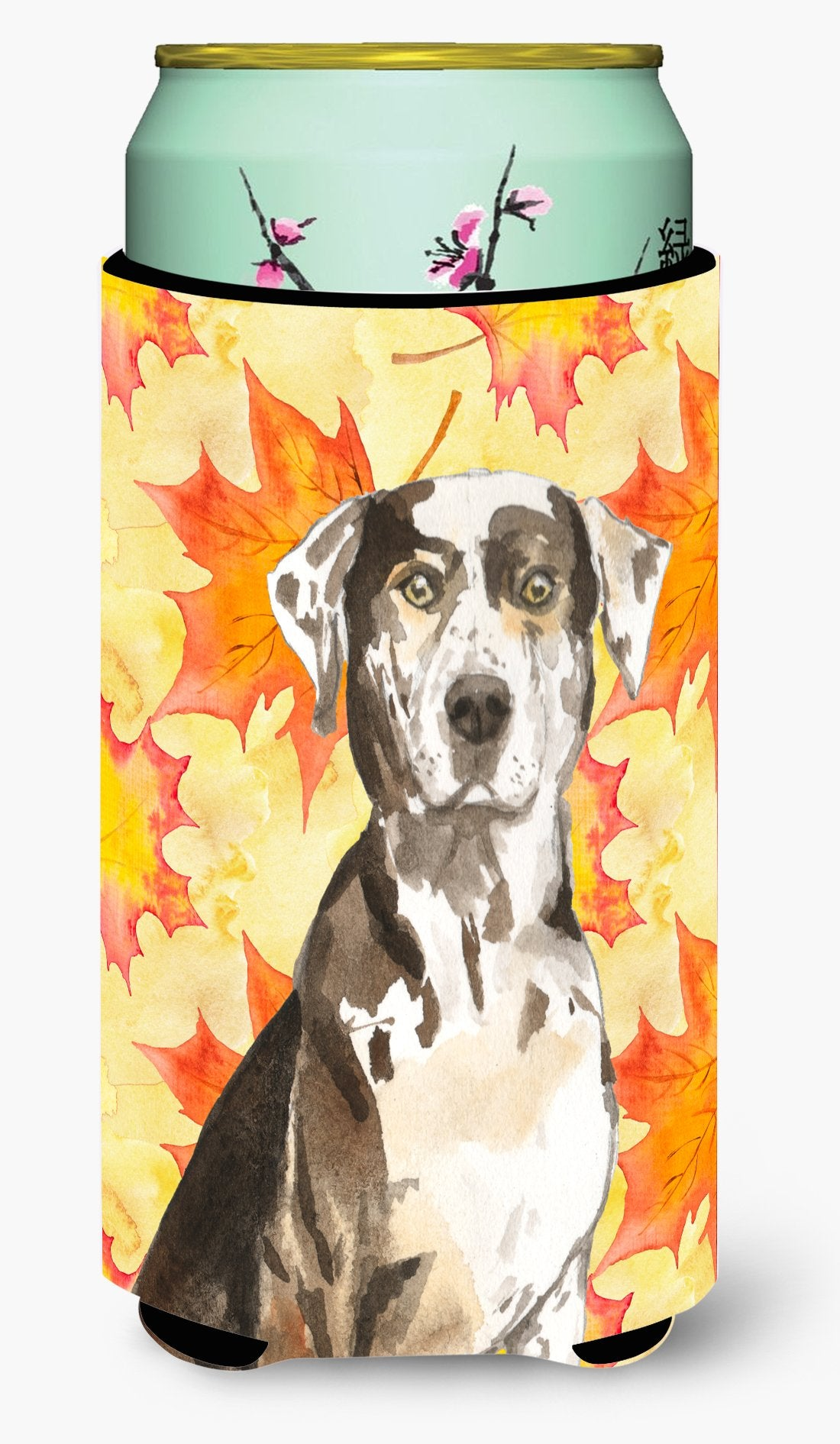 Fall Leaves Catahoula Leopard Dog Tall Boy Beverage Insulator Hugger CK1845TBC by Caroline's Treasures