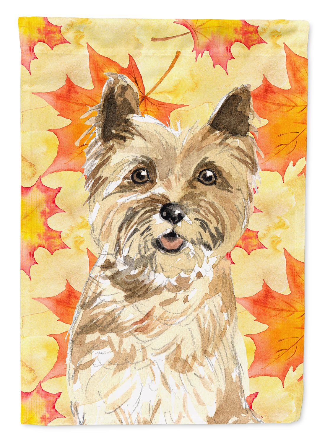 Fall Leaves Cairn Terrier Flag Canvas House Size CK1846CHF by Caroline's Treasures