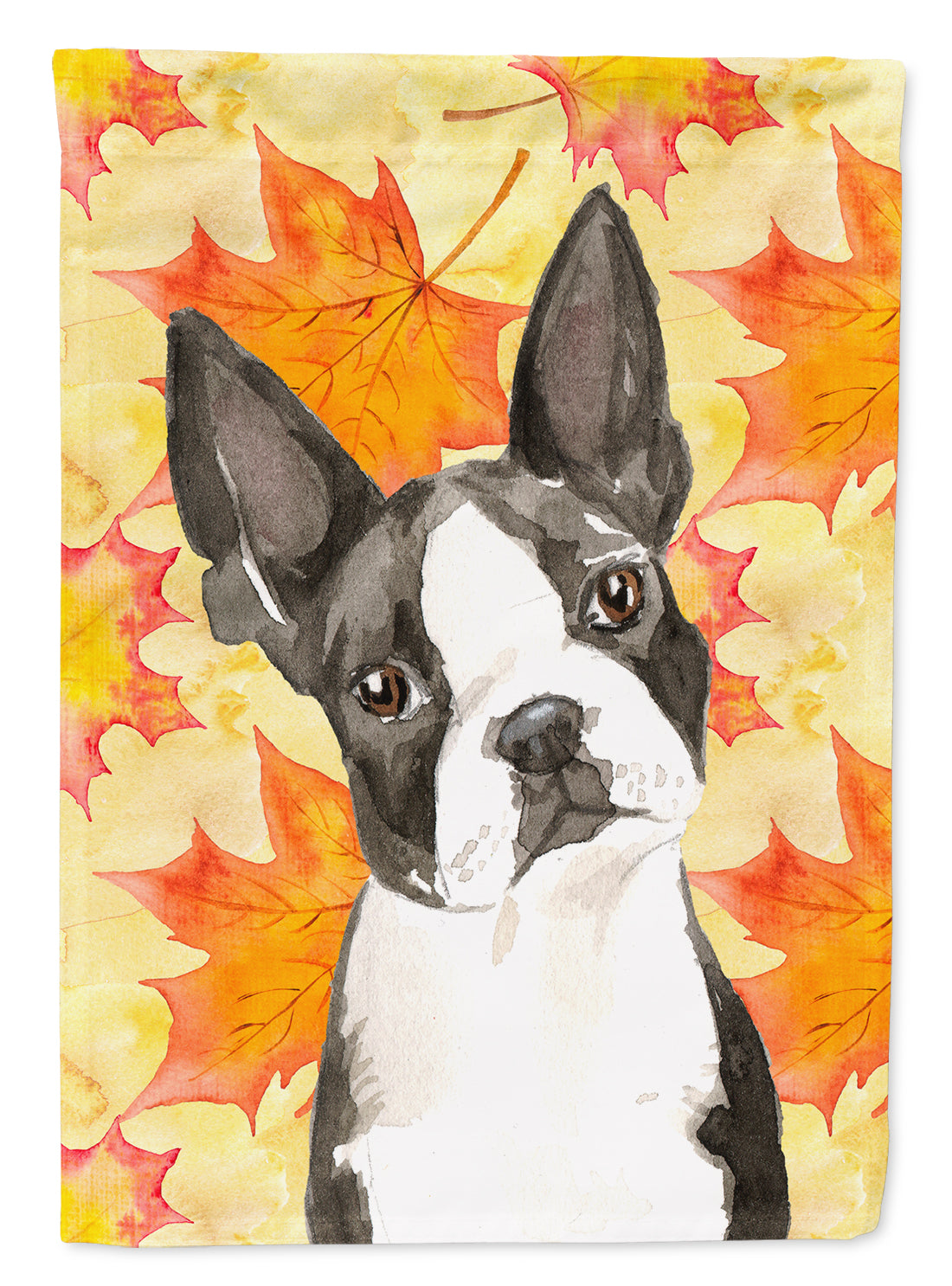 Fall Leaves Boston Terrier Flag Canvas House Size CK1849CHF by Caroline's Treasures