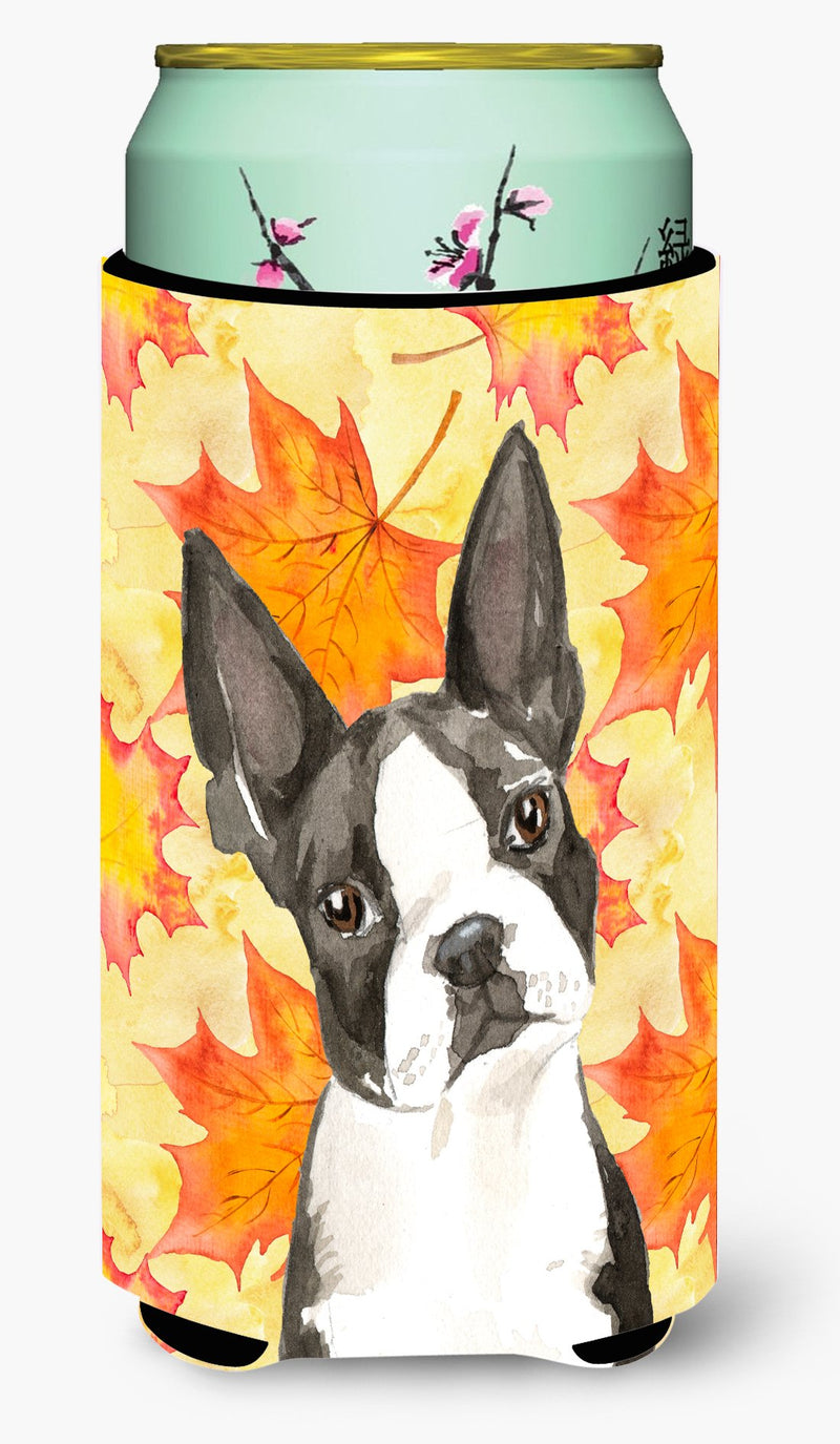 Buy this Fall Leaves Boston Terrier Tall Boy Beverage Insulator Hugger CK1849TBC
