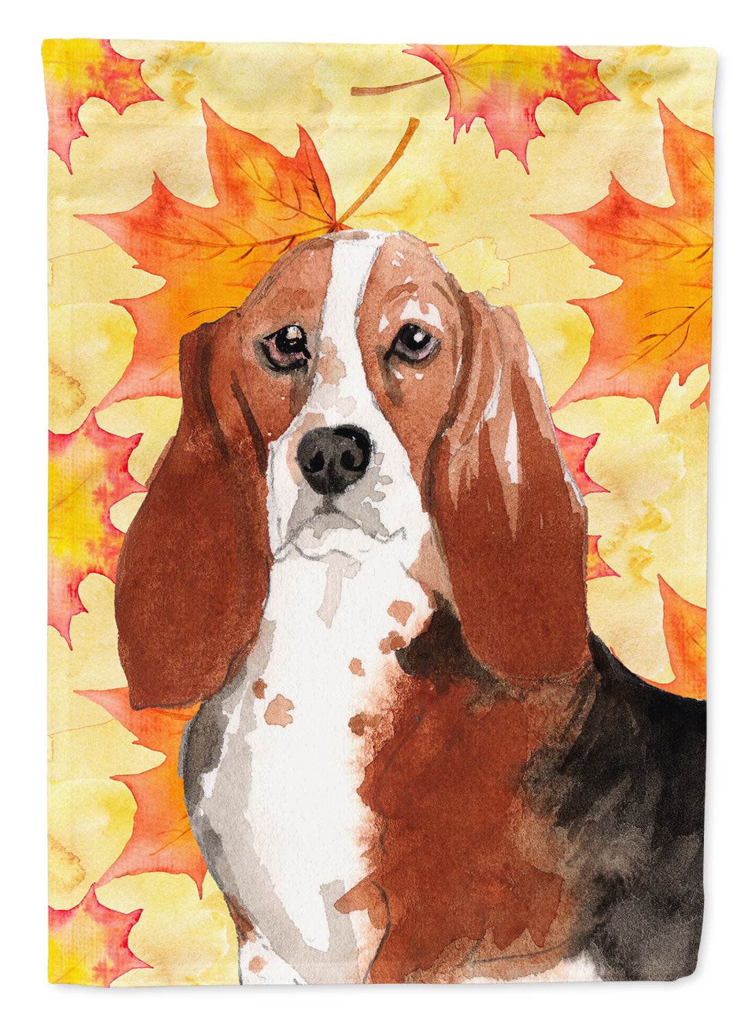 Fall Leaves Basset Hound Flag Canvas House Size CK1853CHF by Caroline's Treasures
