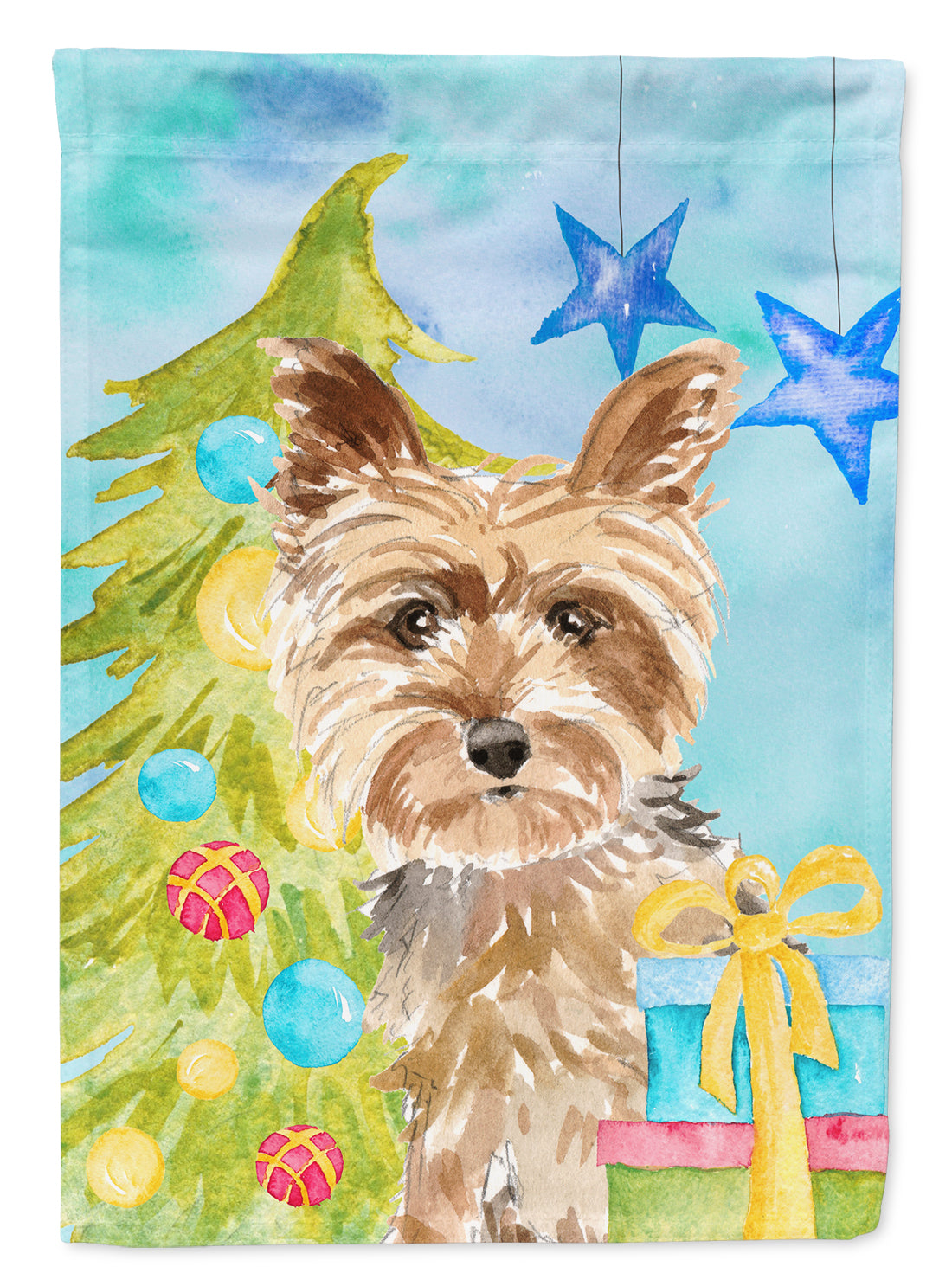 Christmas Tree Yorkie Yorkshire Terrier Flag Canvas House Size CK1854CHF by Caroline's Treasures