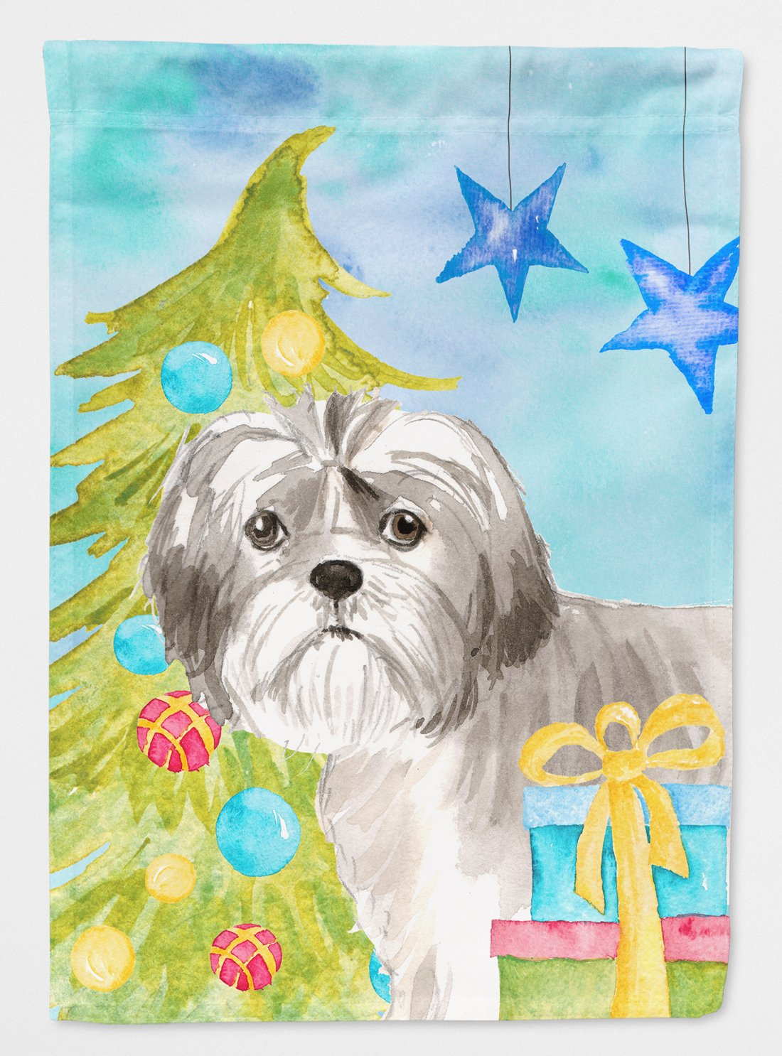 Buy this Christmas Tree Shih Tzu Puppy Flag Garden Size CK1862GF