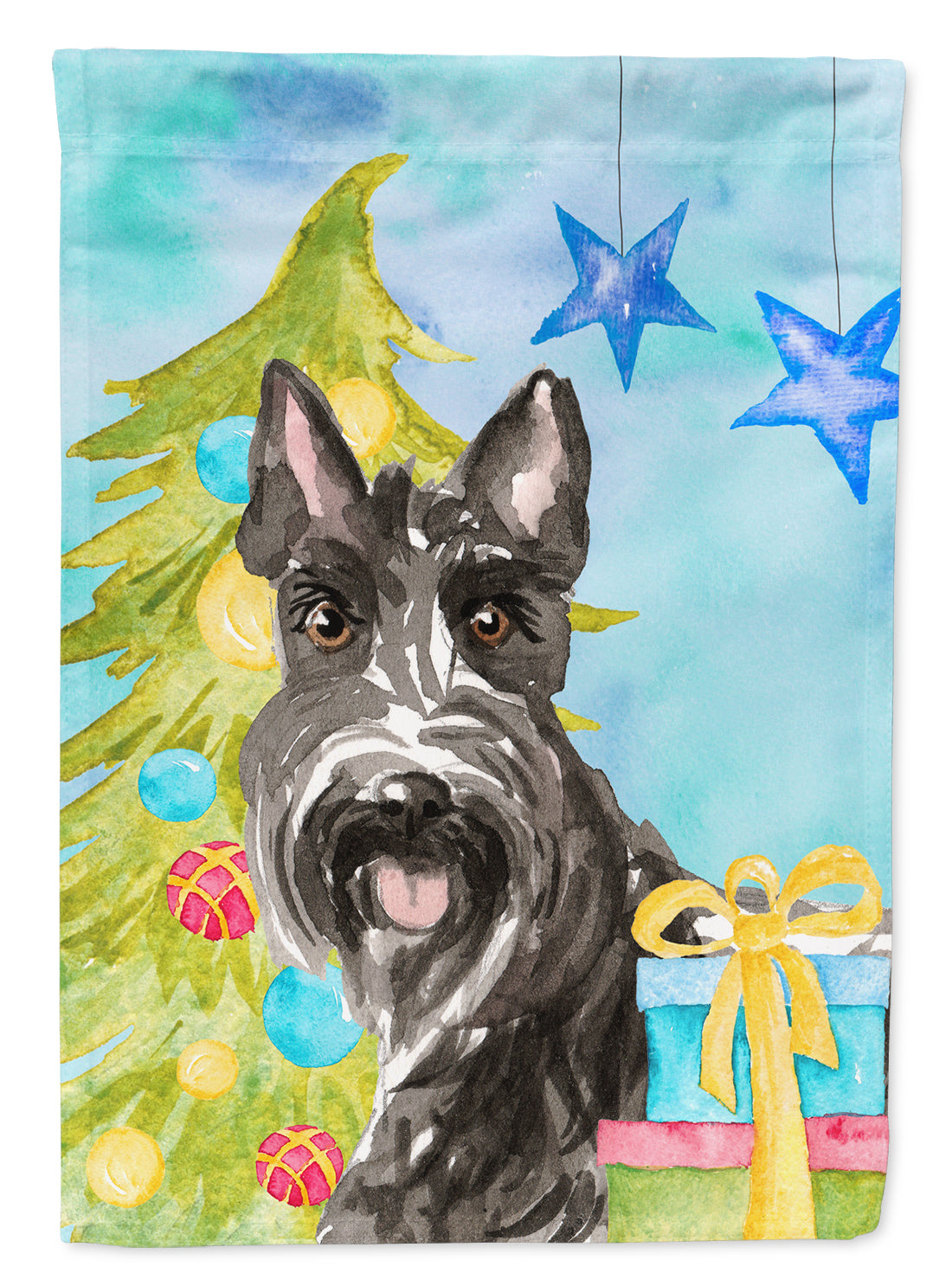 Christmas Tree Scottish Terrier Flag Canvas House Size CK1865CHF by Caroline's Treasures