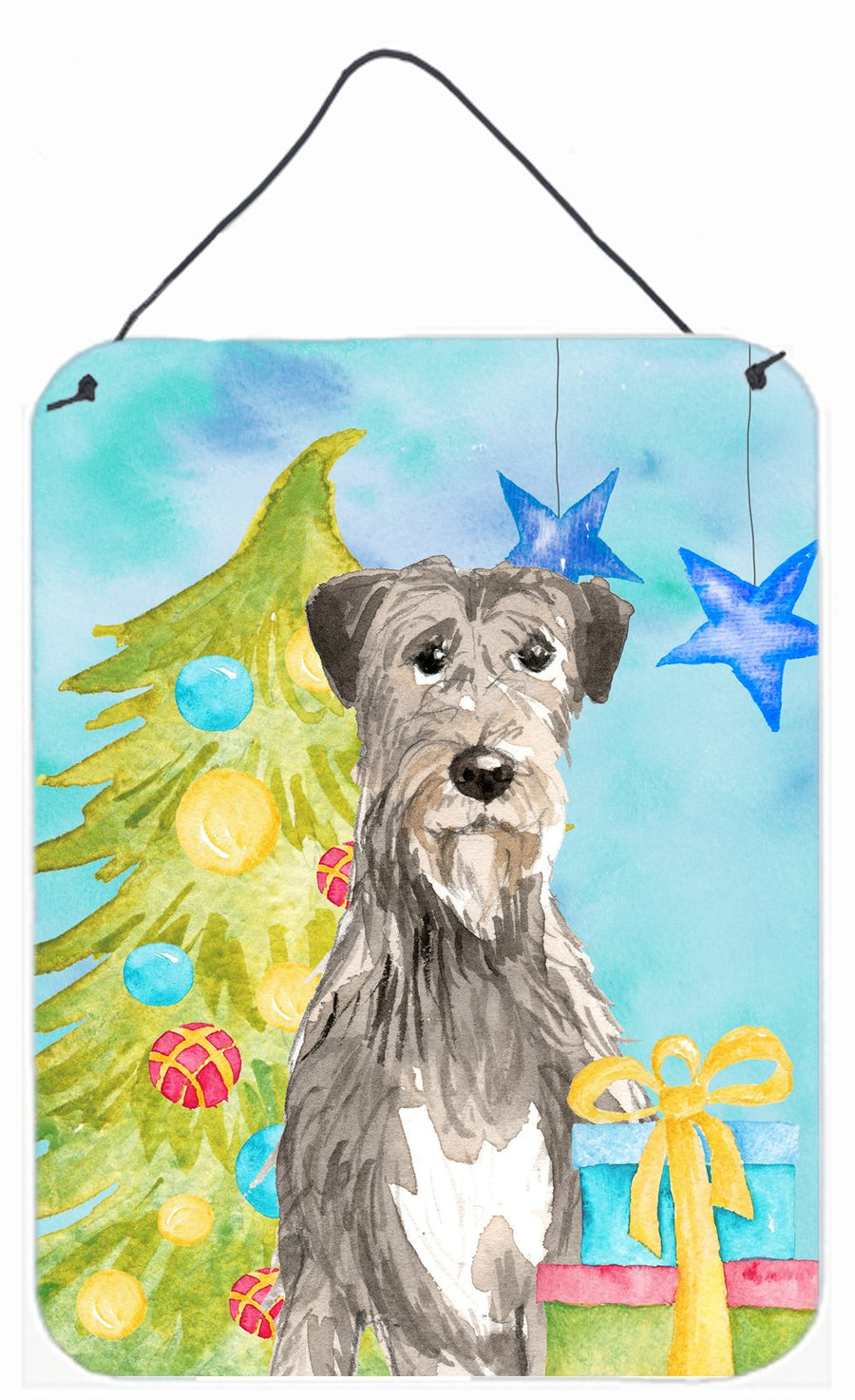 Buy this Christmas Tree Irish Wolfhound Wall or Door Hanging Prints CK1876DS1216
