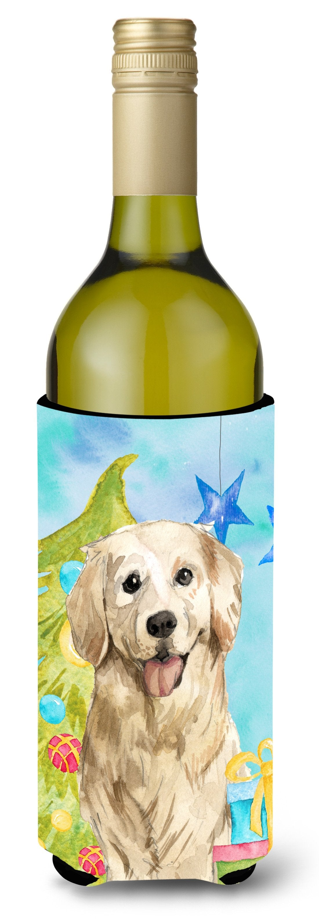 Buy this Christmas Tree Golden Retriever Wine Bottle Beverge Insulator Hugger CK1878LITERK