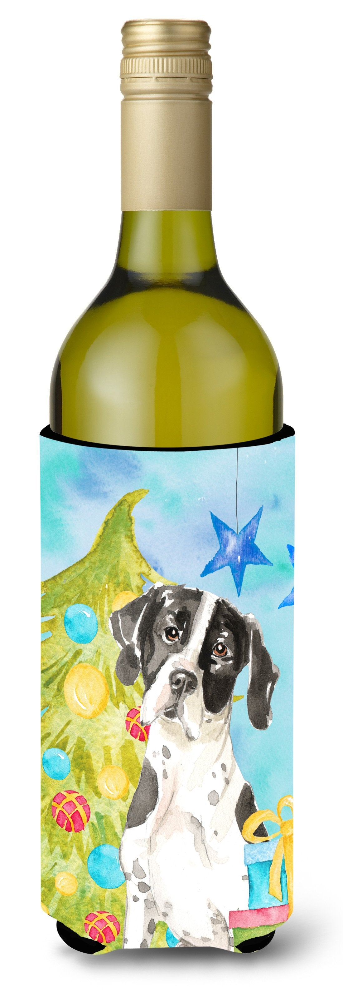 Buy this Christmas Tree English Pointer Wine Bottle Beverge Insulator Hugger CK1880LITERK