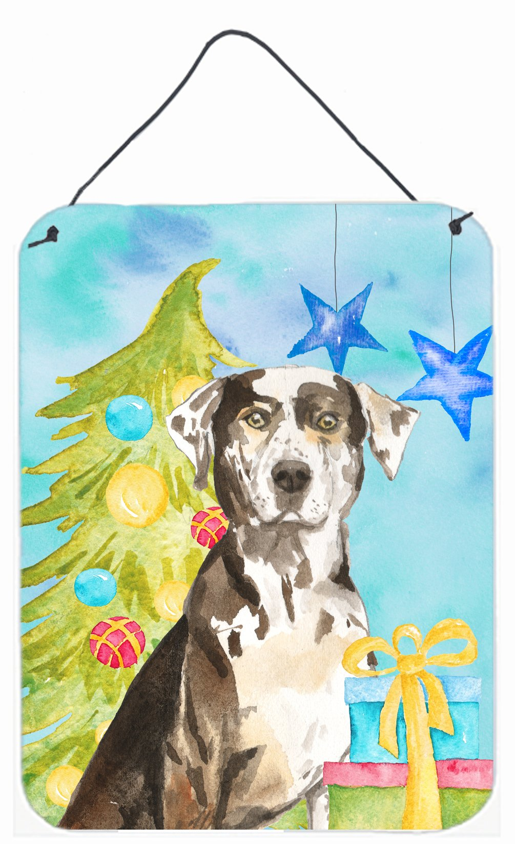 Buy this Christmas Tree Catahoula Leopard Dog Wall or Door Hanging Prints CK1882DS1216