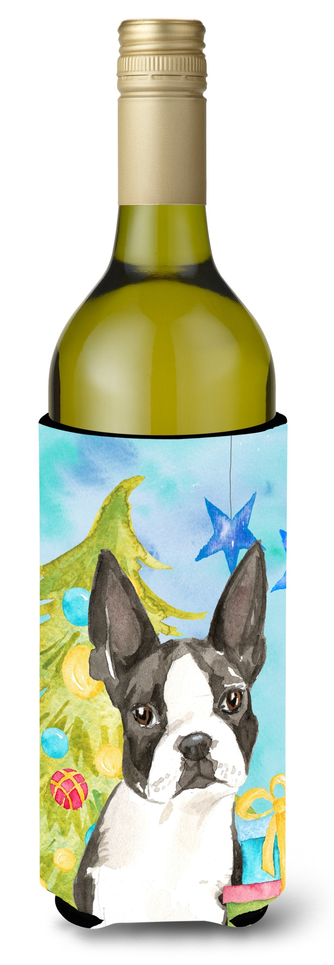 Buy this Christmas Tree Boston Terrier Wine Bottle Beverge Insulator Hugger CK1886LITERK
