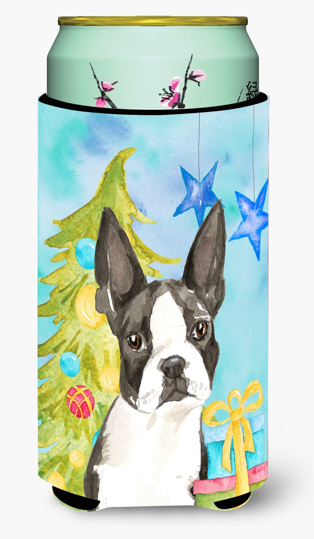 Christmas Tree Boston Terrier Tall Boy Beverage Insulator Hugger CK1886TBC by Caroline's Treasures