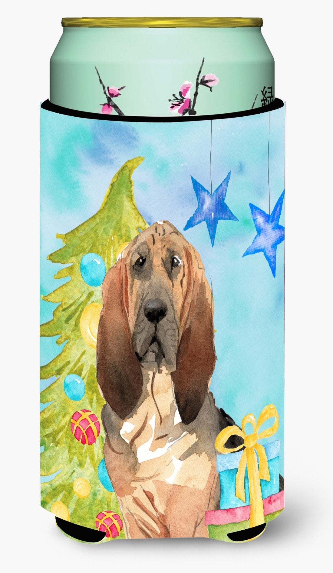 Christmas Tree Bloodhound Tall Boy Beverage Insulator Hugger CK1887TBC by Caroline's Treasures