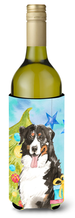 Buy this Christmas Tree Bernese Mountain Dog Wine Bottle Beverge Insulator Hugger CK1889LITERK