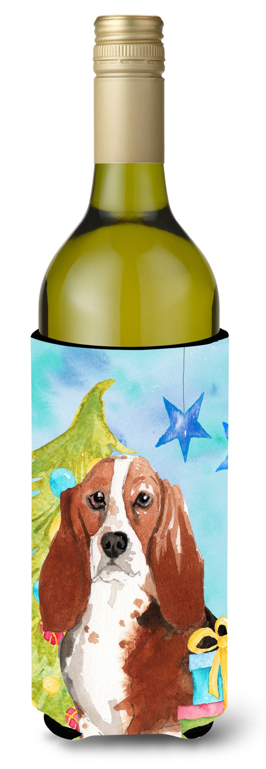 Buy this Christmas Tree Basset Hound Wine Bottle Beverge Insulator Hugger CK1890LITERK
