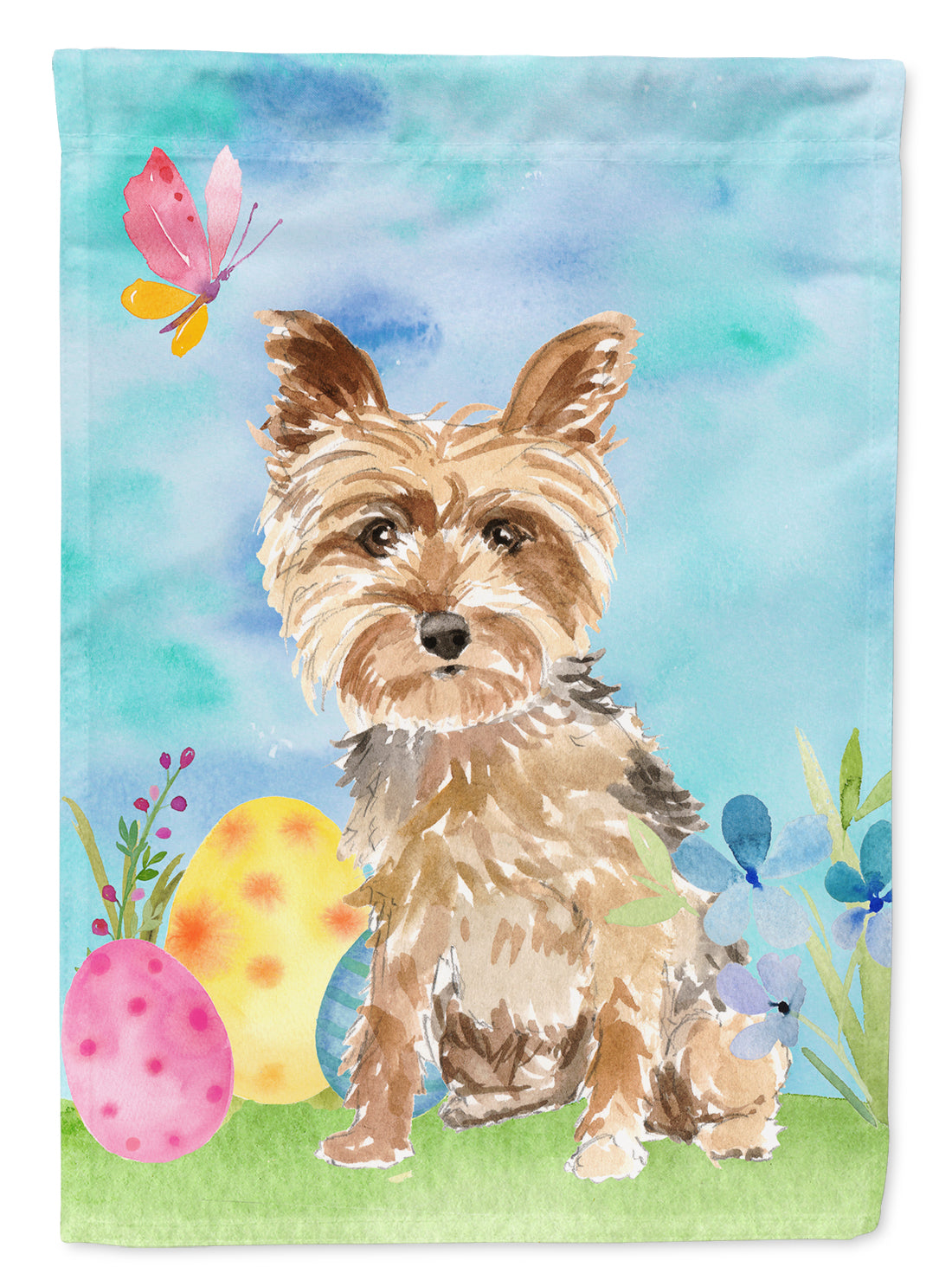Easter Eggs Yorkie Yorkshire Terrier Flag Canvas House Size CK1891CHF by Caroline's Treasures