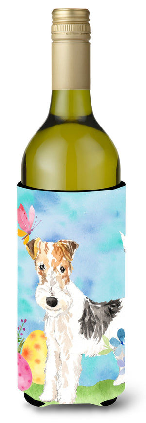Buy this Easter Eggs Fox Terrier Wine Bottle Beverge Insulator Hugger CK1892LITERK