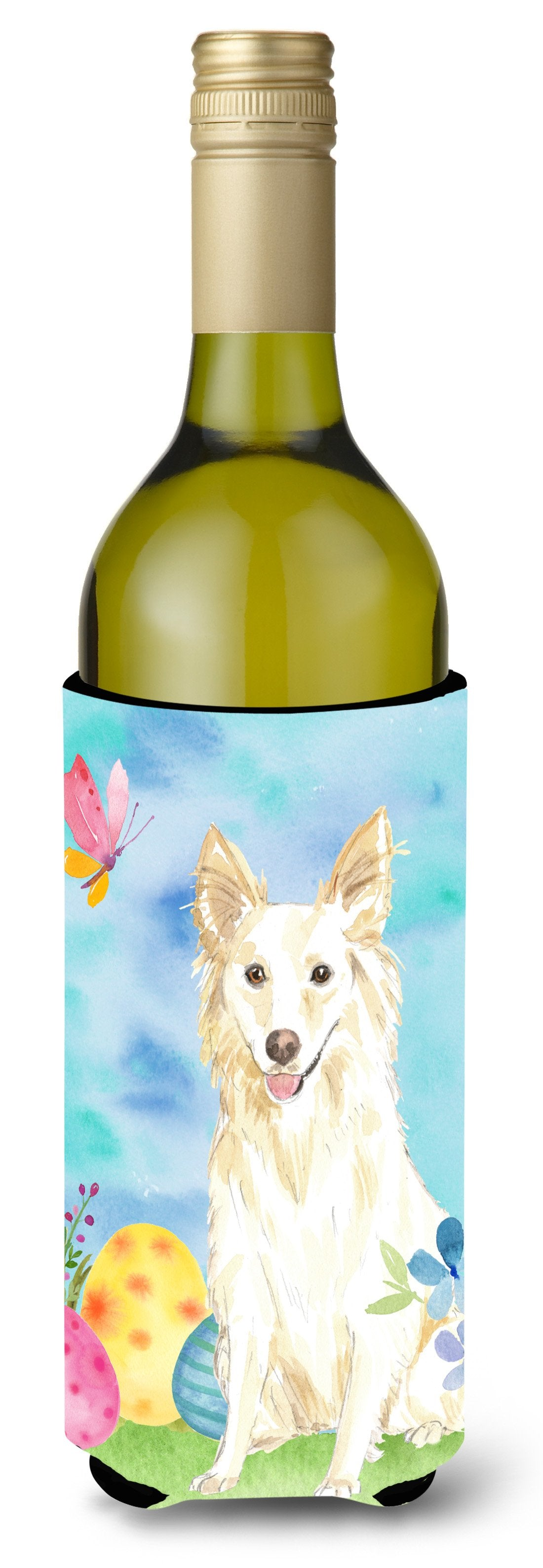 Buy this Easter Eggs White Collie Wine Bottle Beverge Insulator Hugger CK1893LITERK