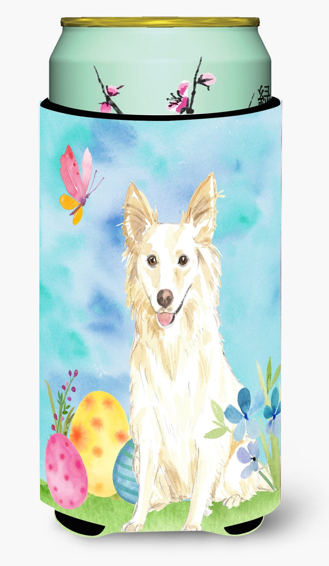 Easter Eggs White Collie Tall Boy Beverage Insulator Hugger CK1893TBC by Caroline's Treasures