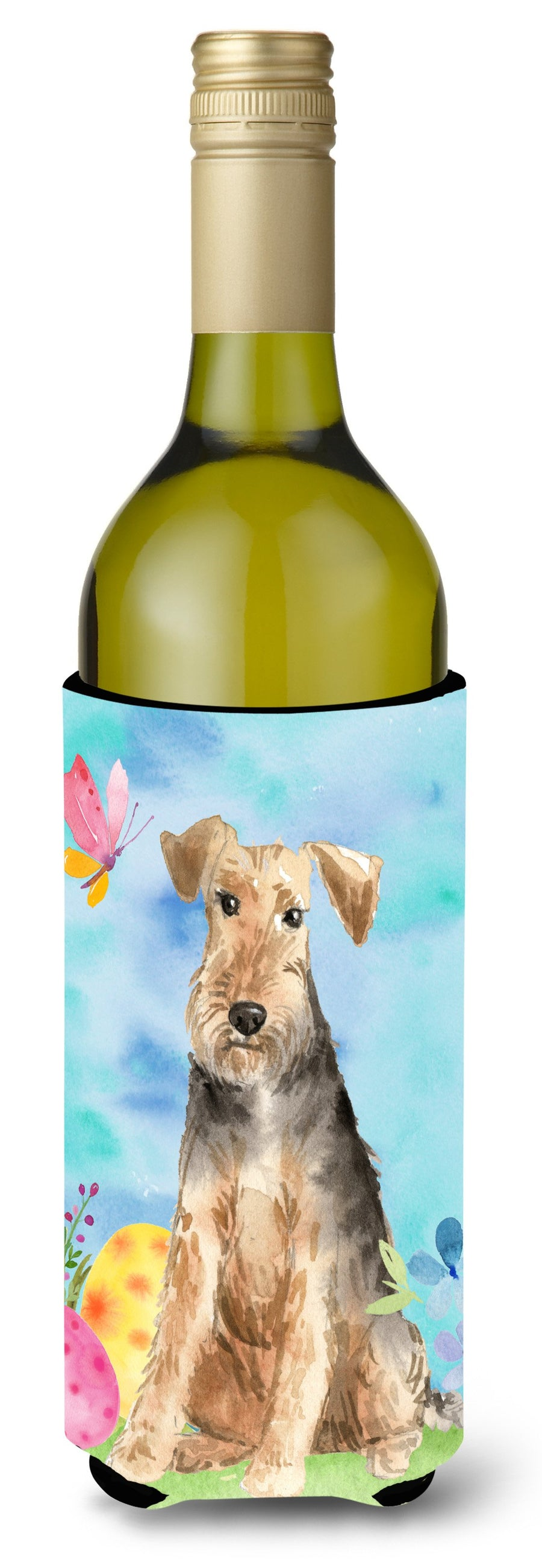 Buy this Easter Eggs Welsh Terrier Wine Bottle Beverge Insulator Hugger CK1895LITERK