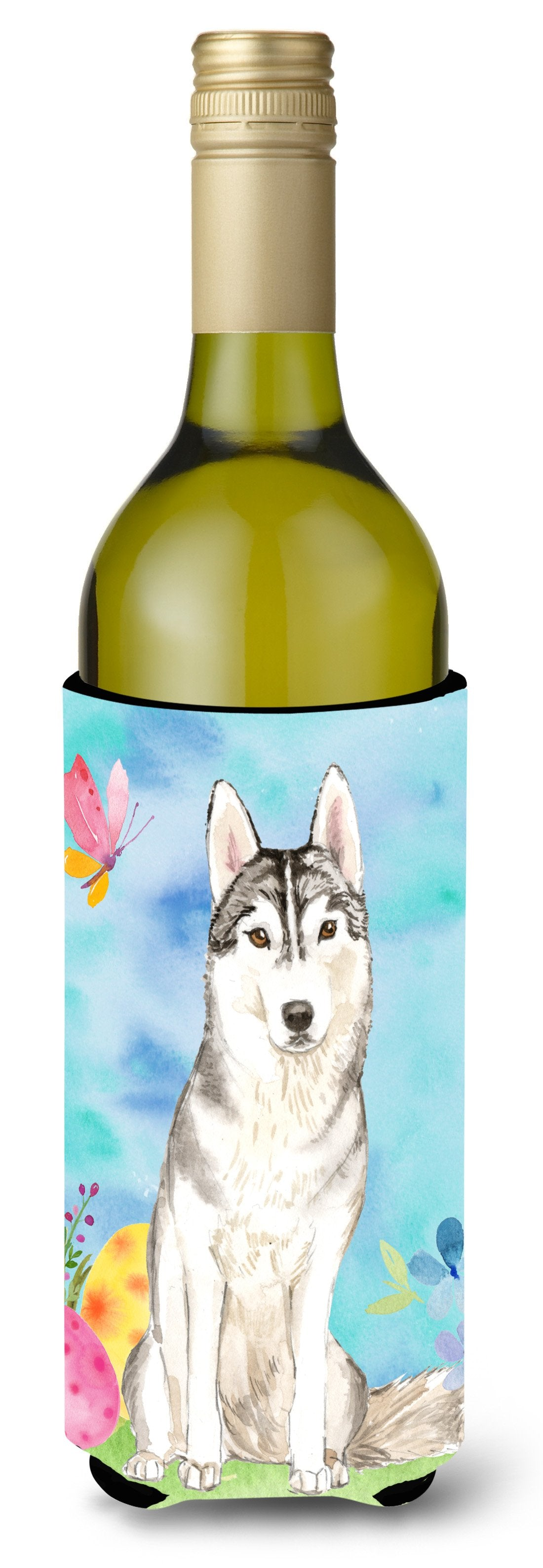 Buy this Easter Eggs Siberian Husky Wine Bottle Beverge Insulator Hugger CK1898LITERK