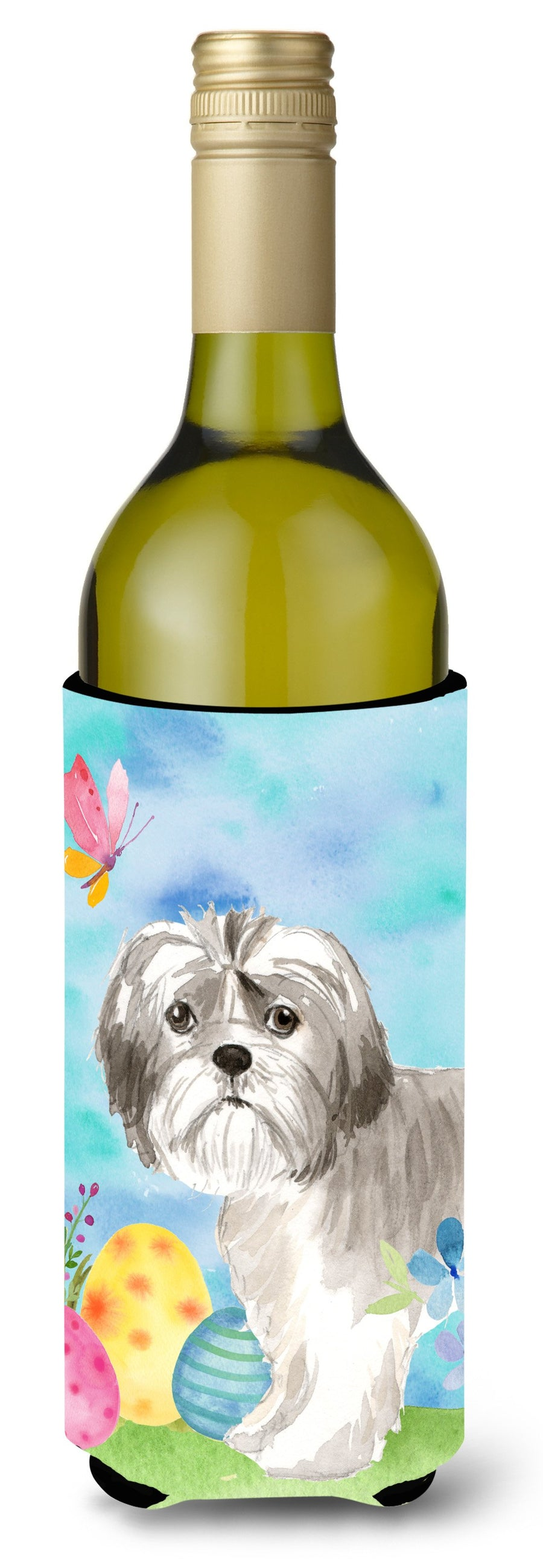 Buy this Easter Eggs Shih Tzu Puppy Wine Bottle Beverge Insulator Hugger CK1899LITERK