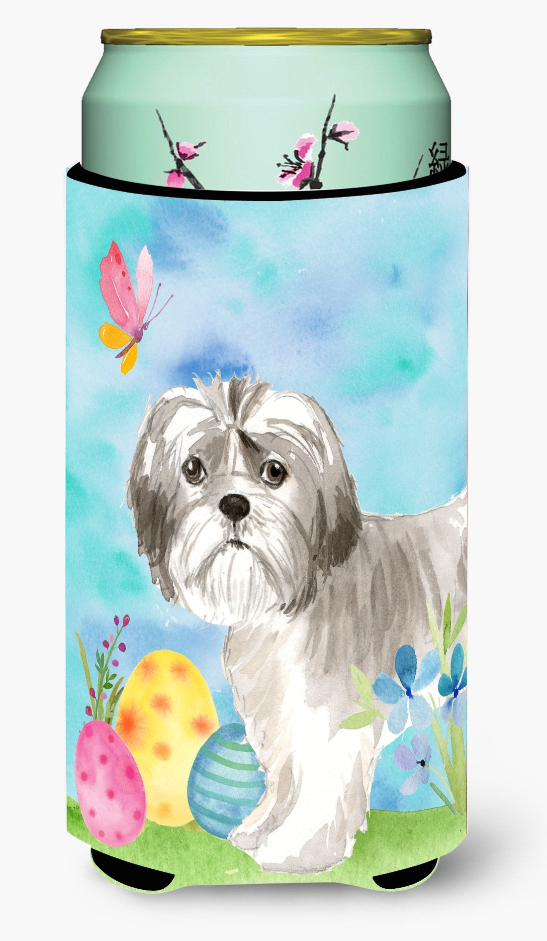 Easter Eggs Shih Tzu Puppy Tall Boy Beverage Insulator Hugger CK1899TBC by Caroline's Treasures