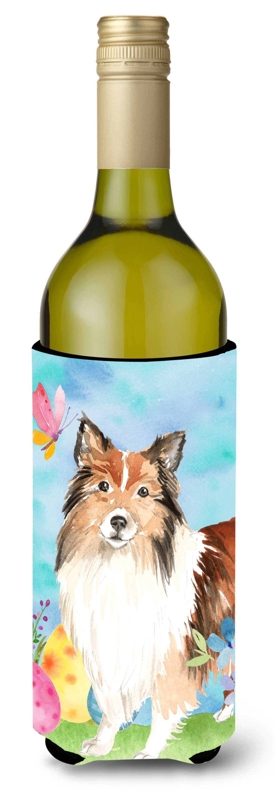 Buy this Easter Eggs Sheltie Wine Bottle Beverge Insulator Hugger CK1901LITERK