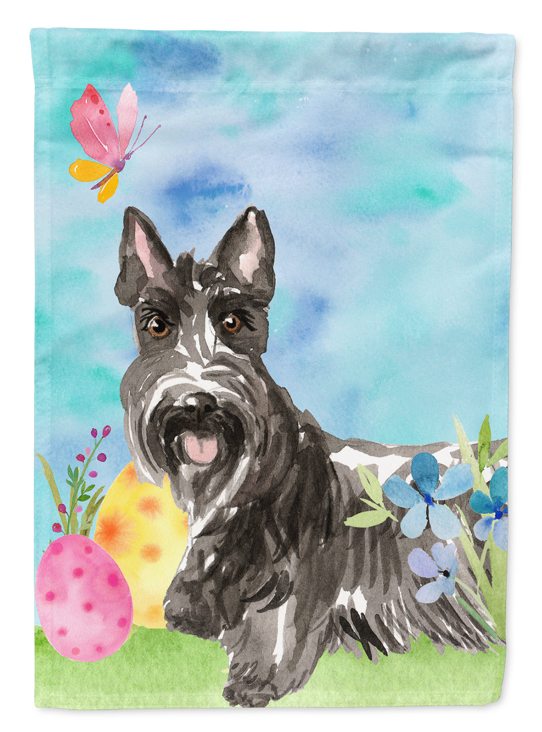 Easter Eggs Scottish Terrier Flag Canvas House Size CK1902CHF by Caroline's Treasures