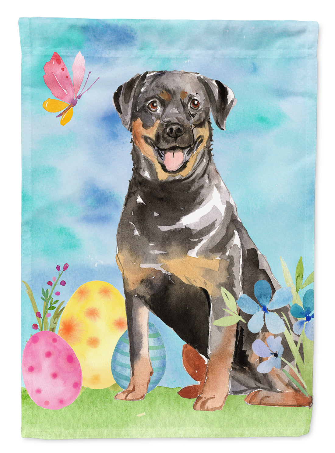 Buy this Easter Eggs Rottweiler Flag Canvas House Size CK1905CHF