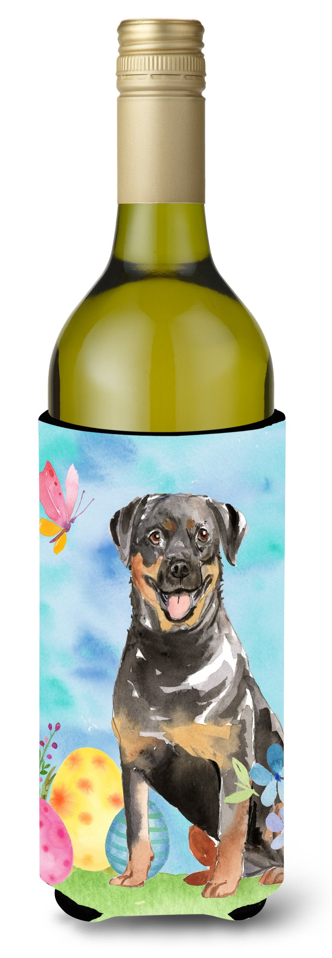 Buy this Easter Eggs Rottweiler Wine Bottle Beverge Insulator Hugger CK1905LITERK