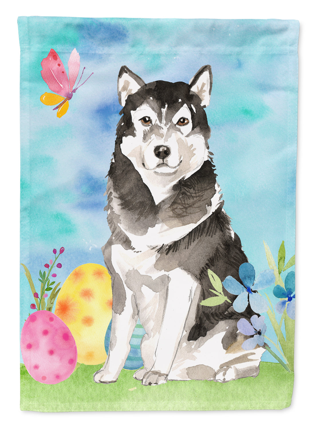Easter Eggs Alaskan Malamute Flag Canvas House Size CK1909CHF by Caroline's Treasures