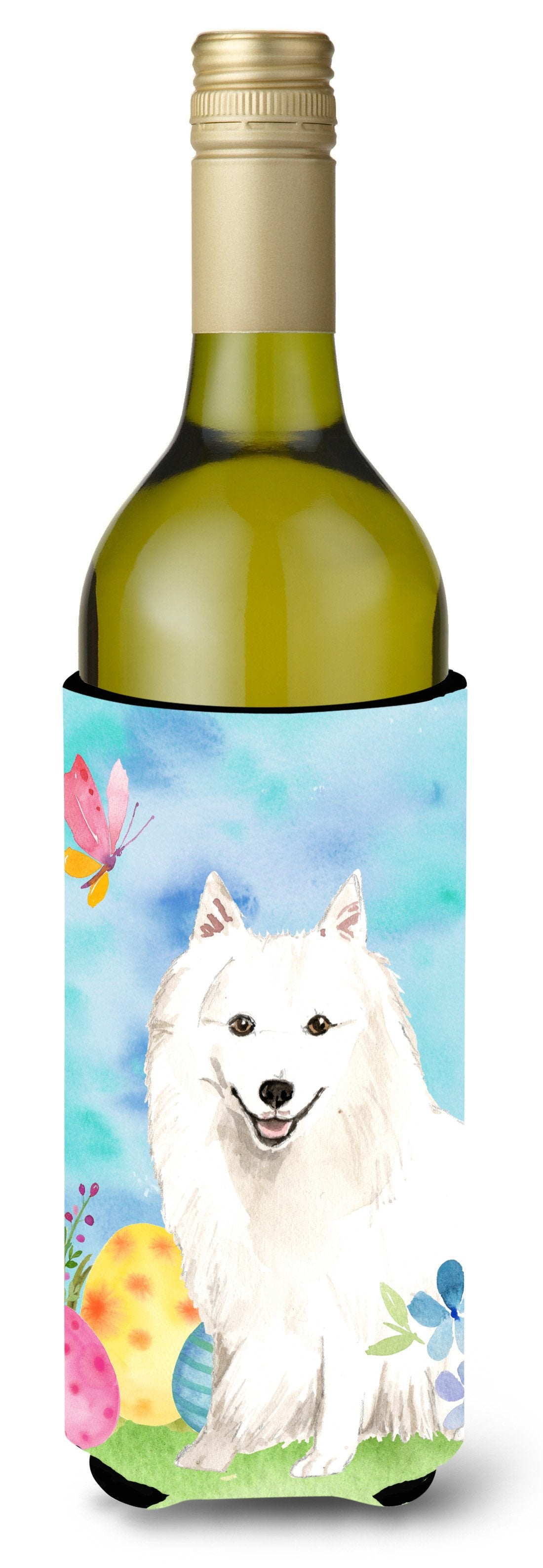 Buy this Easter Eggs Japanese Spitz Wine Bottle Beverge Insulator Hugger CK1912LITERK