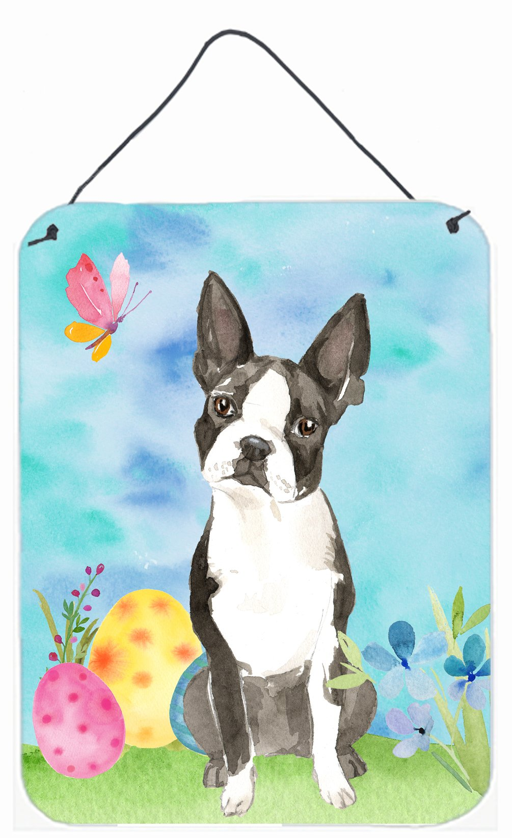 Easter Eggs Boston Terrier Wall or Door Hanging Prints CK1923DS1216 by Caroline's Treasures