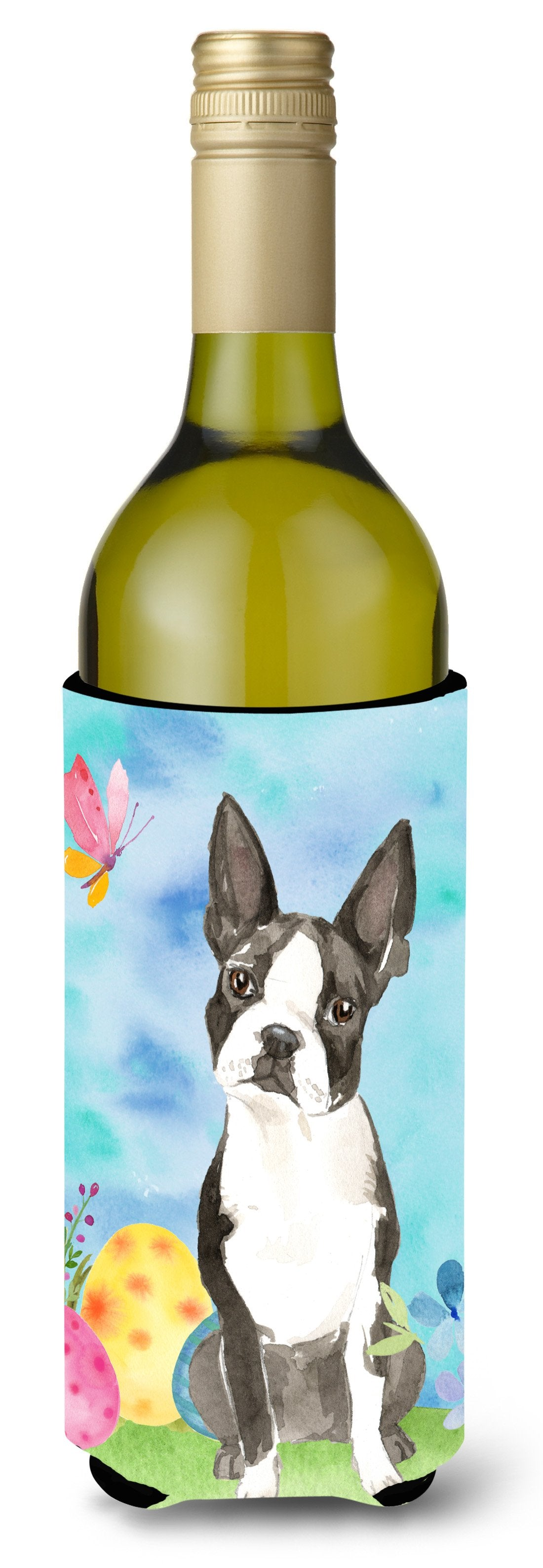 Buy this Easter Eggs Boston Terrier Wine Bottle Beverge Insulator Hugger CK1923LITERK