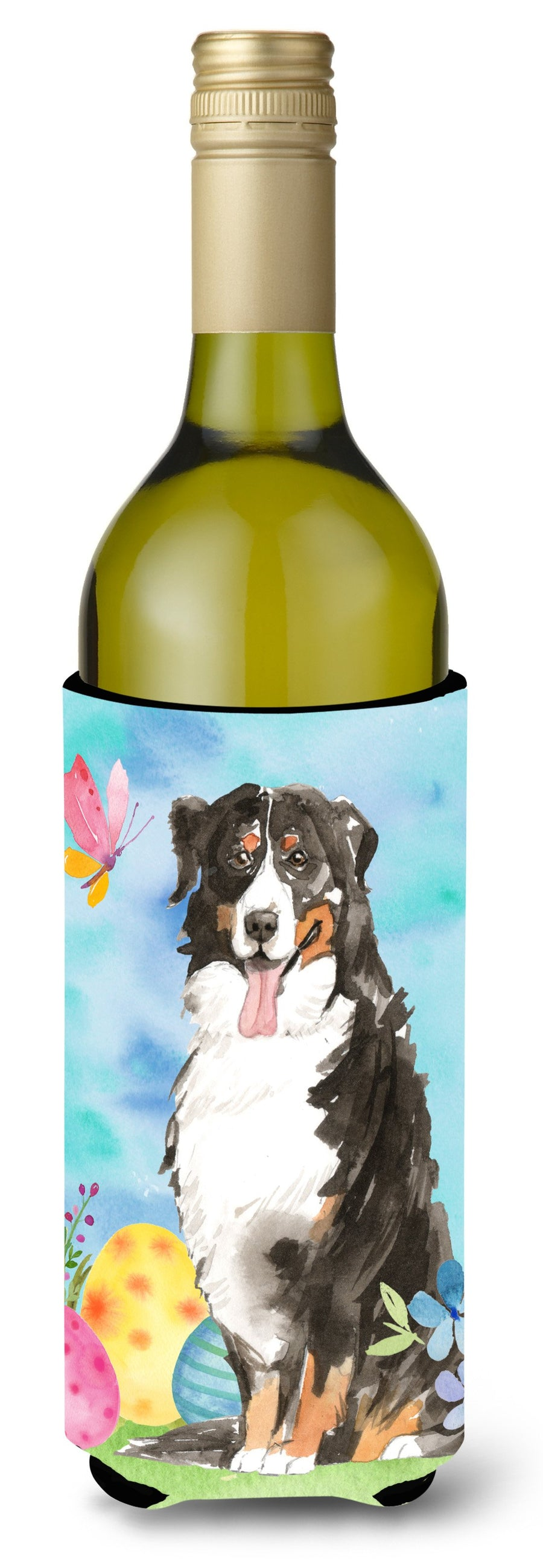 Buy this Easter Eggs Bernese Mountain Dog Wine Bottle Beverge Insulator Hugger CK1926LITERK