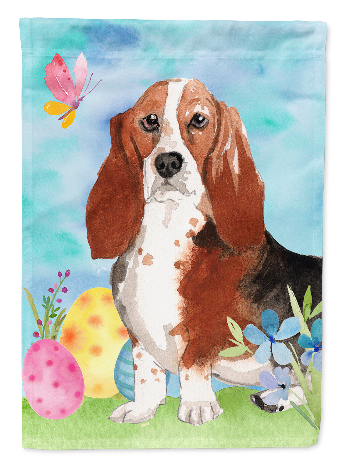 Buy this Easter Eggs Basset Hound Flag Canvas House Size CK1927CHF