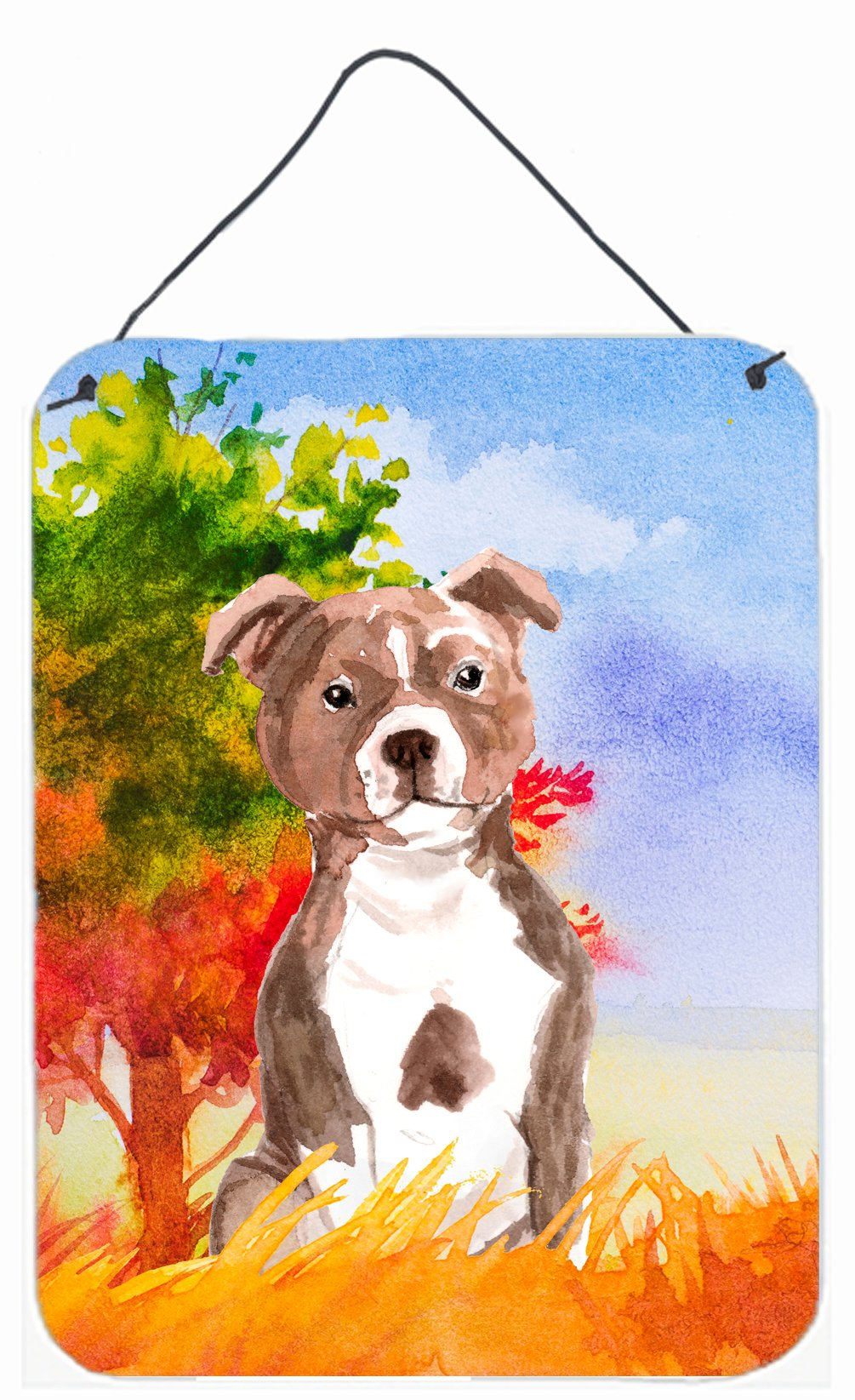Buy this Fall Red Staffordshire Bull Terrier Wall or Door Hanging Prints CK1933DS1216