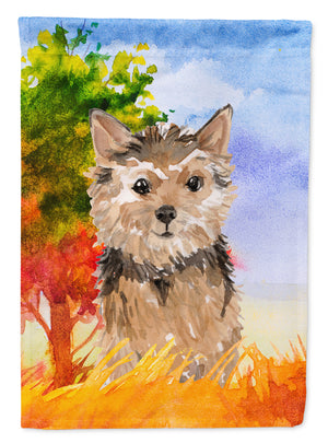 Buy this Fall Norwich Terrier Flag Canvas House Size CK1936CHF