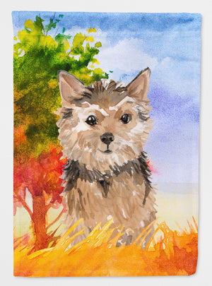Buy this Fall Norwich Terrier Flag Garden Size CK1936GF