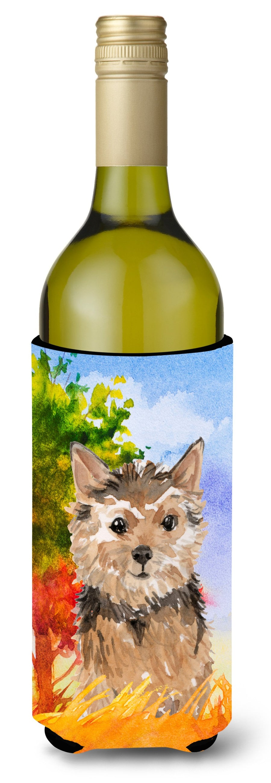 Buy this Fall Norwich Terrier Wine Bottle Beverage Insulator Hugger CK1936LITERK