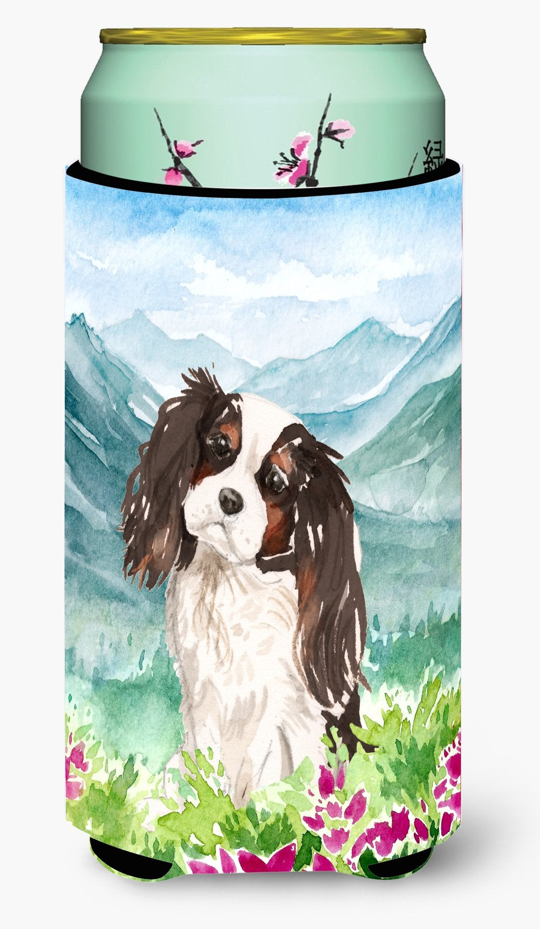 Mountian Flowers Tricolor Cavalier Spaniel Tall Boy Beverage Insulator Hugger CK1966TBC by Caroline's Treasures