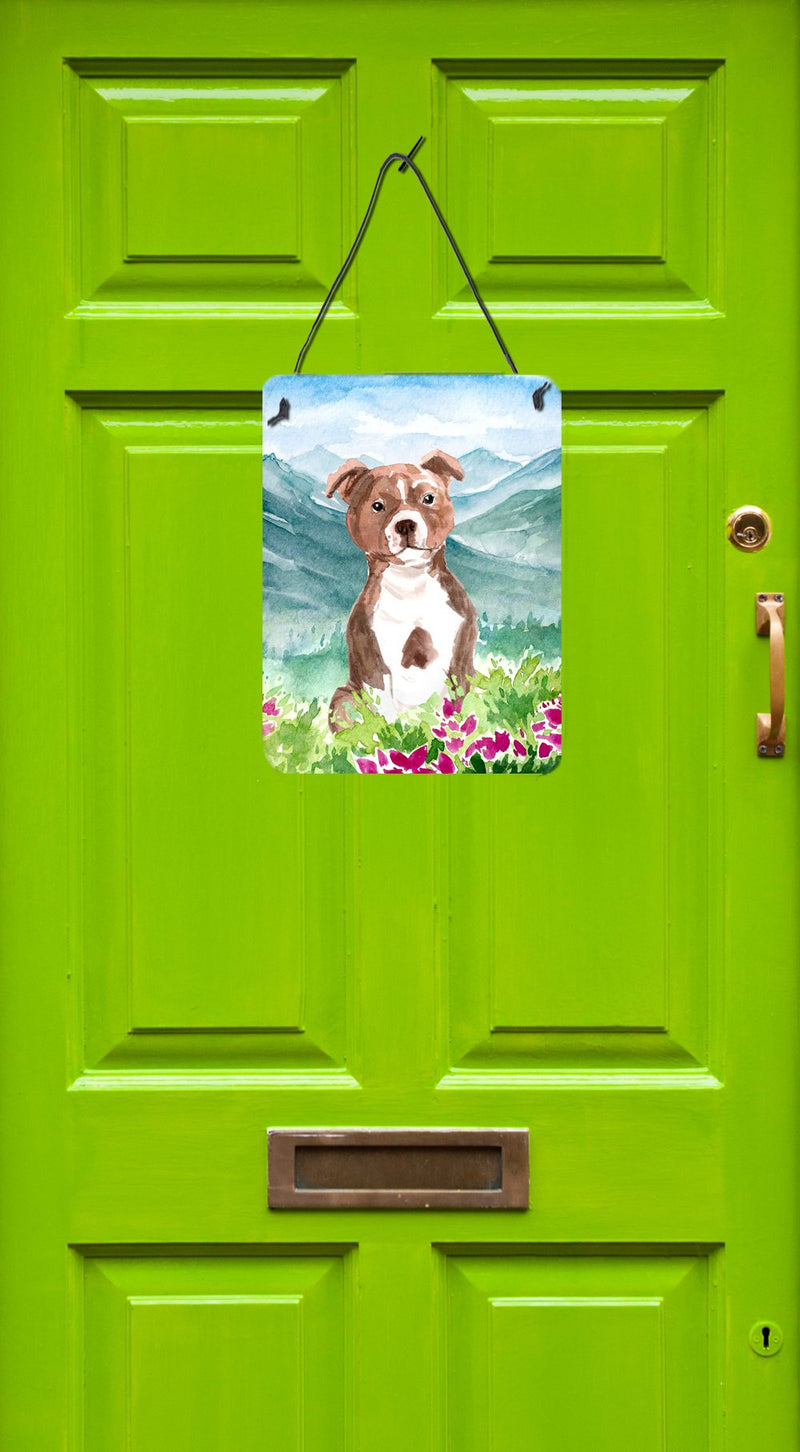 Buy this Mountian Flowers Red Staffordshire Bull Terrier Wall or Door Hanging Prints CK1968DS1216