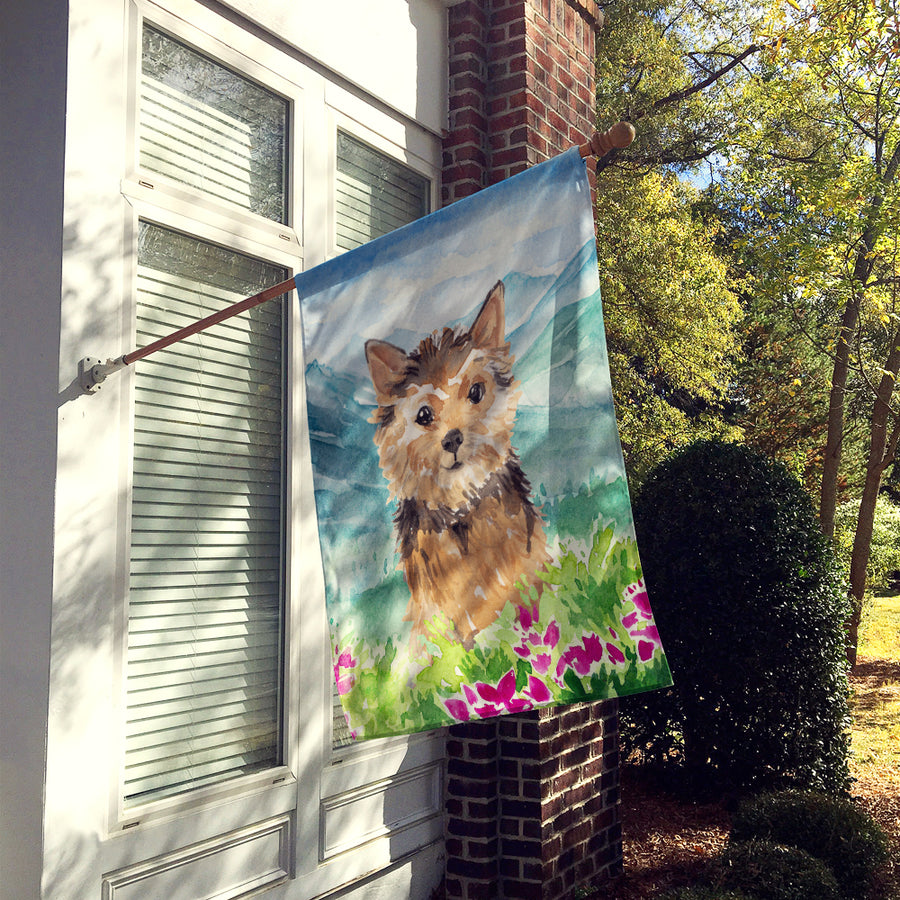 Buy this Mountian Flowers Norwich Terrier Flag Canvas House Size CK1971CHF