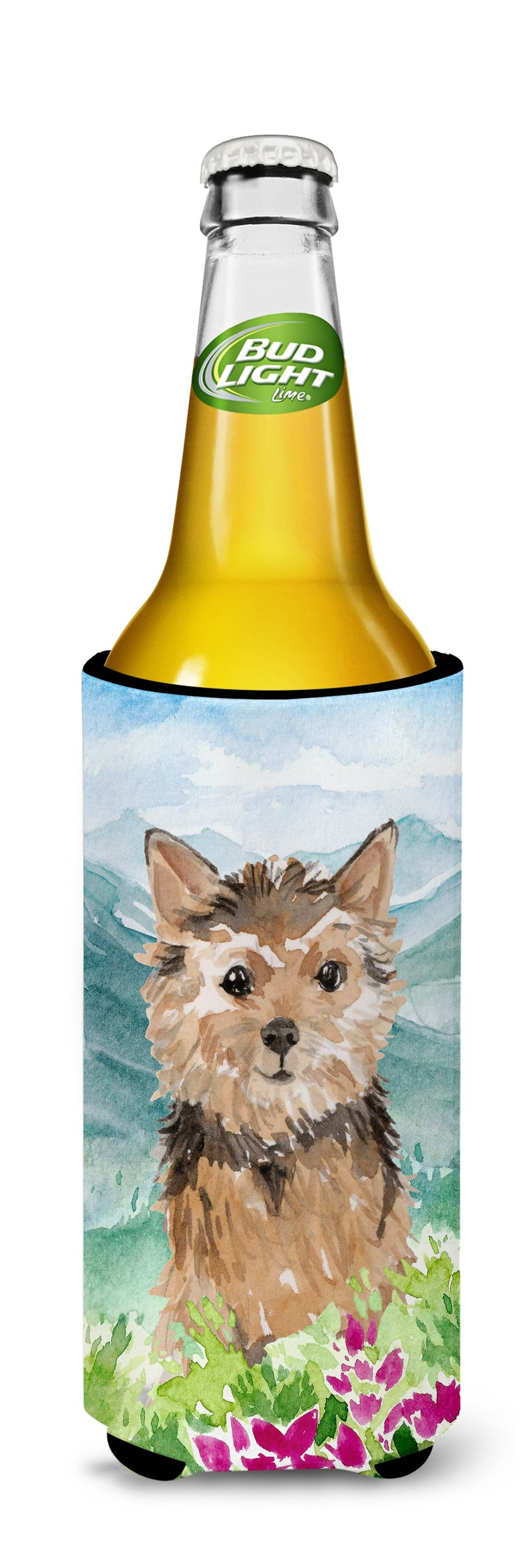 Buy this Mountian Flowers Norwich Terrier Michelob Ultra Hugger for slim cans CK1971MUK