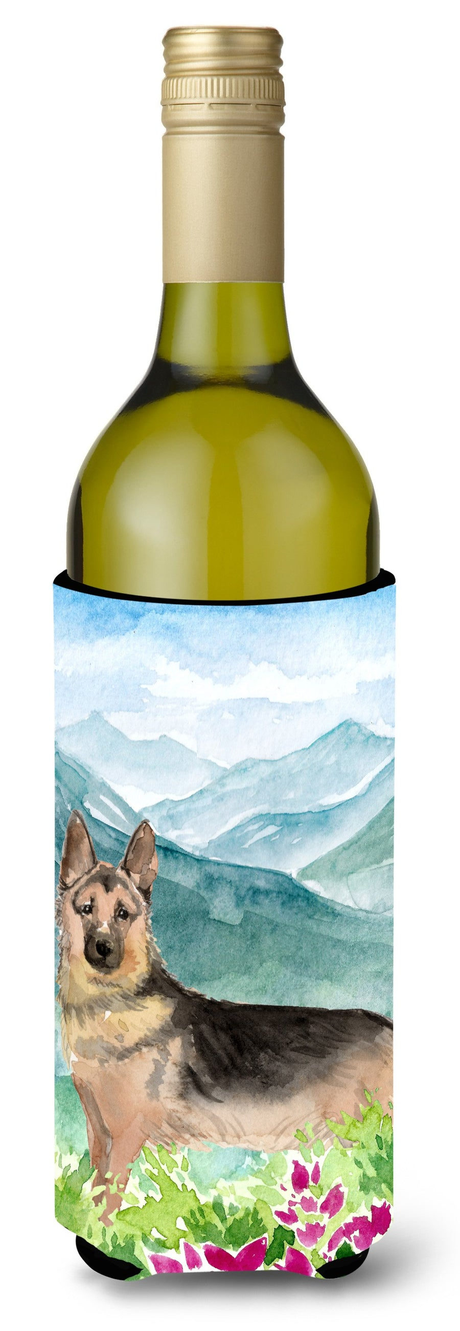 Buy this Mountian Flowers German Shepherd Wine Bottle Beverage Insulator Hugger CK1977LITERK