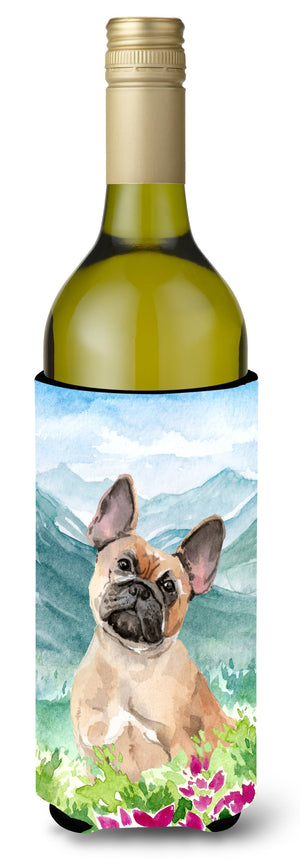 Buy this Mountian Flowers Fawn French Bulldog Wine Bottle Beverage Insulator Hugger CK1978LITERK