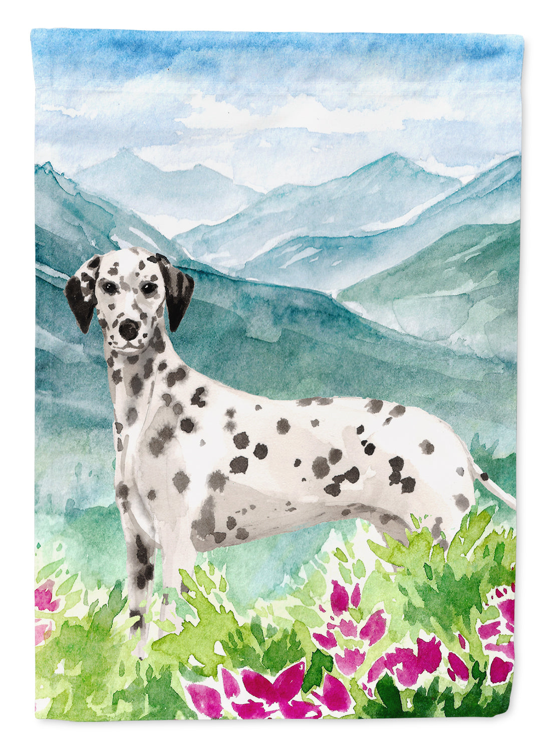 Mountian Flowers Dalmatian Flag Canvas House Size CK1980CHF by Caroline's Treasures