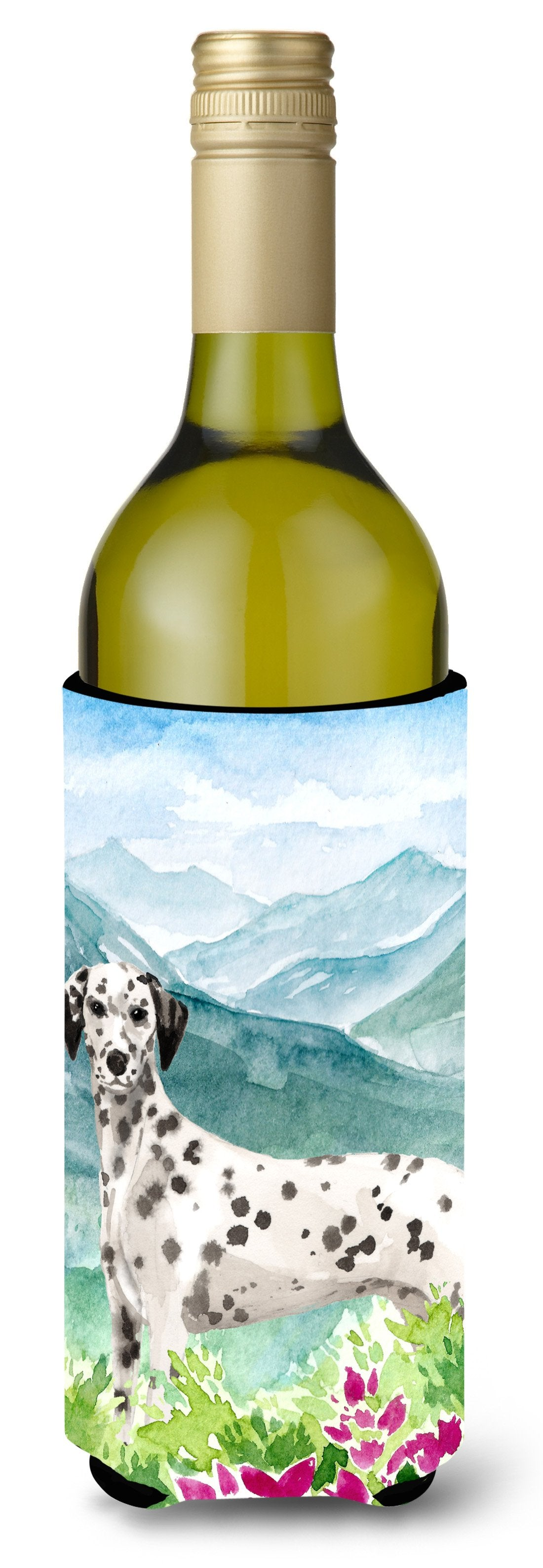 Mountian Flowers Dalmatian Wine Bottle Beverage Insulator Hugger CK1980LITERK by Caroline's Treasures