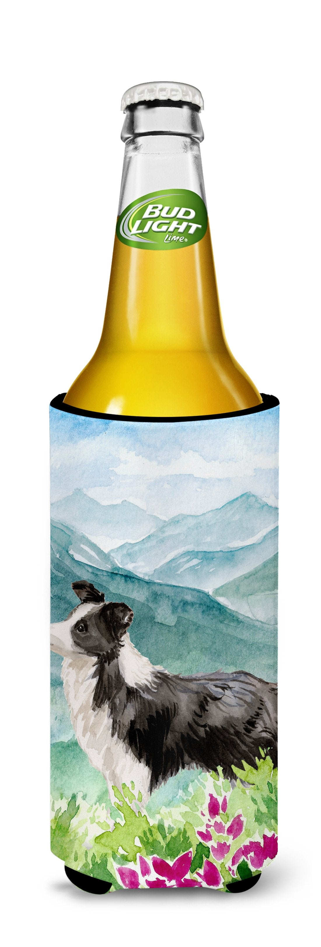 Mountian Flowers Border Collie Michelob Ultra Hugger for slim cans CK1990MUK by Caroline's Treasures