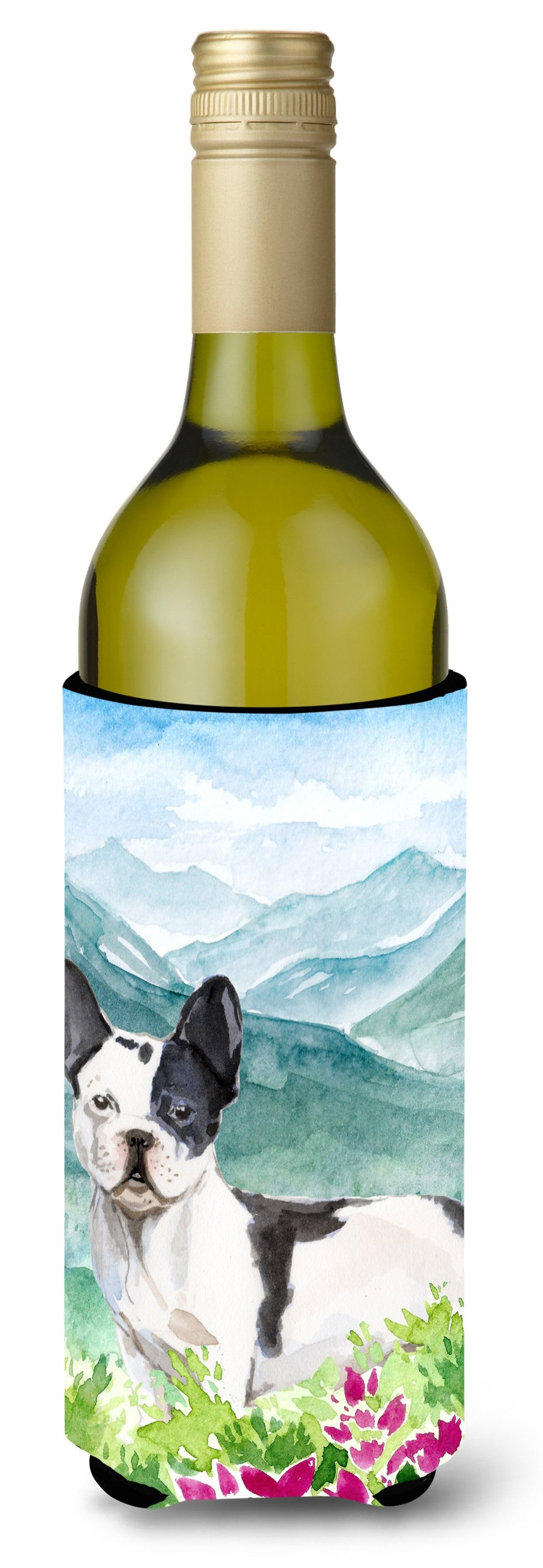 Buy this Mountian Flowers French Bulldog Wine Bottle Beverage Insulator Hugger CK1991LITERK