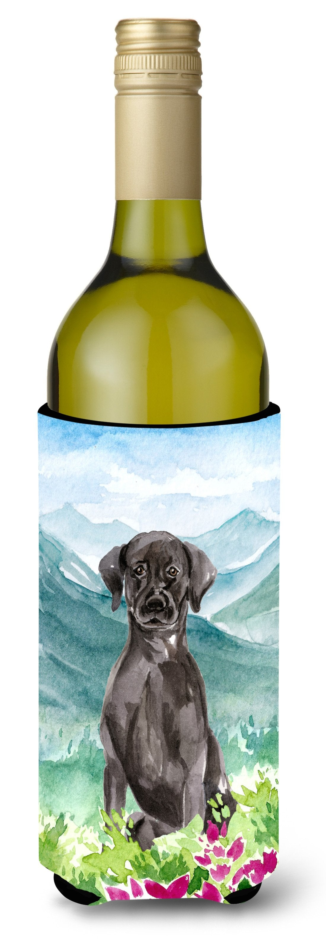Buy this Mountian Flowers Black Lab Wine Bottle Beverage Insulator Hugger CK1992LITERK
